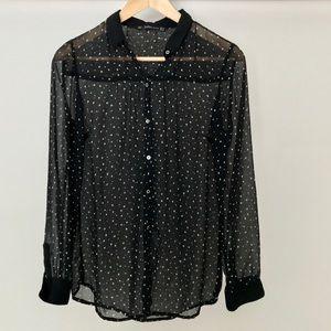 Zara Trafaluc Star Print Button Down Shirt